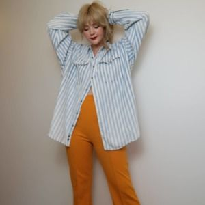 Vintage 90's blue and white striped western shirt